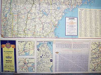 1936 New England Road Map & Historical Guide  Sun Oil Company Gas Sunoco Oils