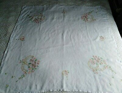 """Vintage Hand Embroidered Tablecloth Linen 40""""x42"""" Pretty Pink Yellow Floral"""