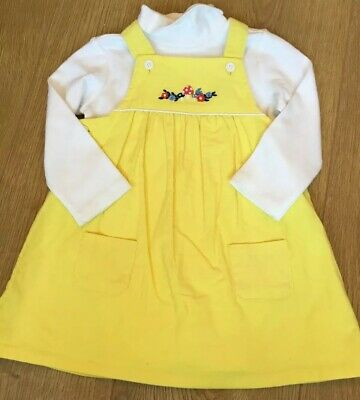 Little bird By Jools Oliver girls 2 Piece Yellow Cord Dress & Bodysuit Set 6-9