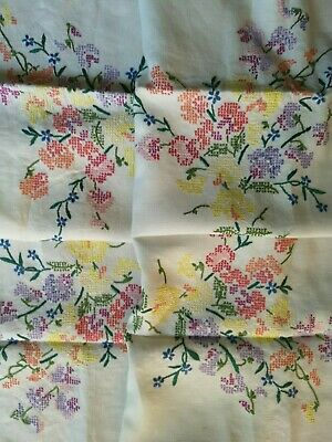 Vintage Embroidered Sweet Pea Cross Stitch Tablecloth