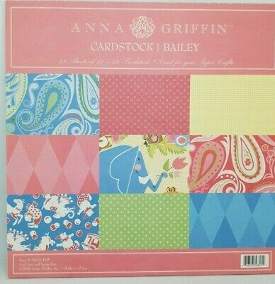 "ANNA GRIFFIN - 12"" x 12"" CARDSTOCK Pad - BAILEY - 18 Sheets"