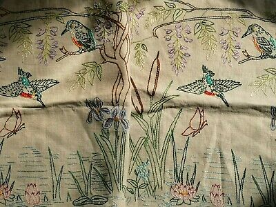 Pair  Vintage Hand Embroidered Cushion Covers Kingfishers Butterfly Repurposing