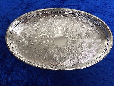 Vintage Sheffield, England Silver Plated 14' x 8.5' Oval Gallery Drinks Tray EXC