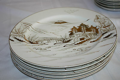 """Kutani China Hand Painted Japan """"Countryside"""" (6) Bread And Butter  Pla 6 1/4"""""""