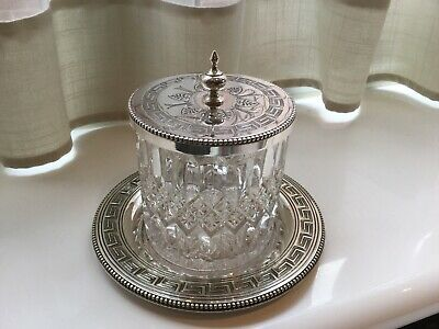 Superb Antique Victorian Silver Plated And Glass Preserve Dish