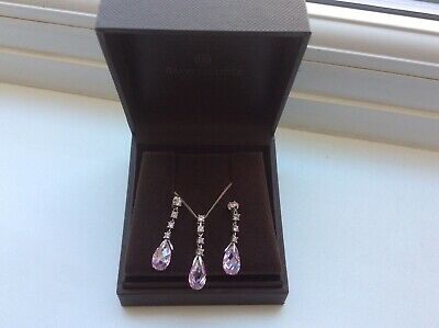 d316173f0 Beaverbrooks silver pink crystal necklace and drop earrings original box