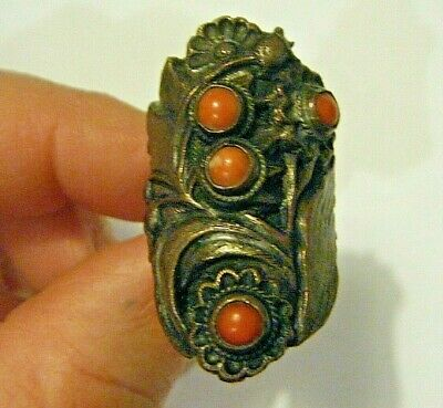 Antique Chinese Large Copper Floral Ring with  Corals size 8