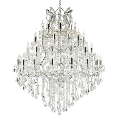 "Maria Theresa Chandelier, W46""x H58"", L49, Chrome Finish, Clear Crystal"