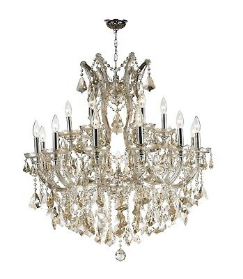 "Maria Theresa Chandelier, W30""x H28"", L19, Chrome Finish, Gold Teak Crystal"