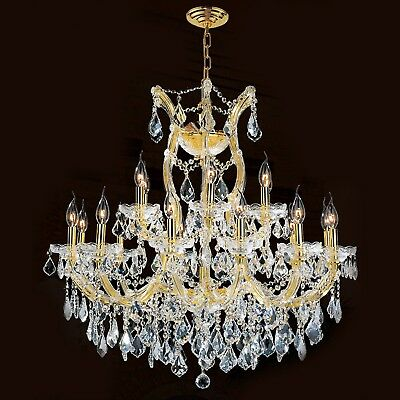 "Maria Theresa Chandelier, W30""x H28"", L19, Gold Finish, Clear Crystal"