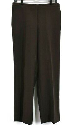 Alfred Dunner Womens 12 Half Elastic Waist Stretch High-rise Tapered Pants Brown