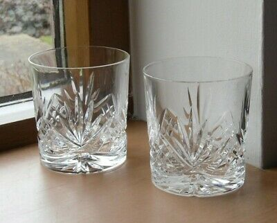 2 WHISKY TUMBLER GLASSES CRYSTAL STAR CUT - 7.5cm HIGH x 7cm AT RIM