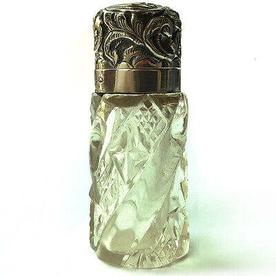 A Beautiful Antique Victorian Solid Silver & Cut Glass Perfume Scent Bottle 1897