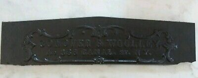 Antique Cast Iron Plaque Conover & Woolley no368 canal st NY