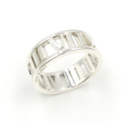 114987599b401 TIFFANY & CO. Atlas Open Roman Numeral 925 Sterling Silver Band Ring Size 6