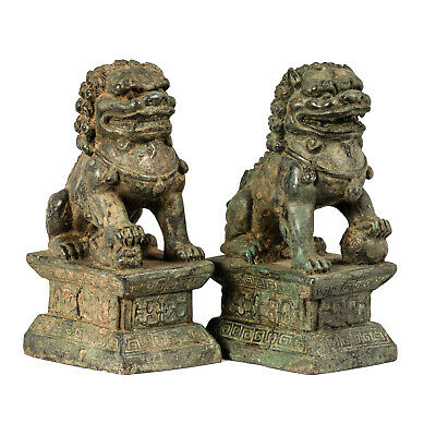 19th Century Antique Chinese Guardian Lions Foo Dogs Imperial Lions - 16cm/6""