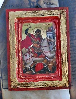 SAINT GEORGE certificate Handmade Christian Orthodox Greek Russian wood icon