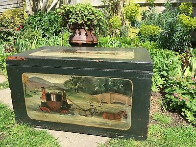 Antique 19th Century Trunk / Blanket Box  Naive Folk Art Painted