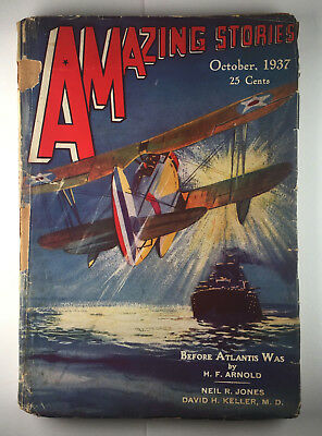 AMAZING STORIES October 1937 Issue Vintage Science Fiction Pulp Magazine