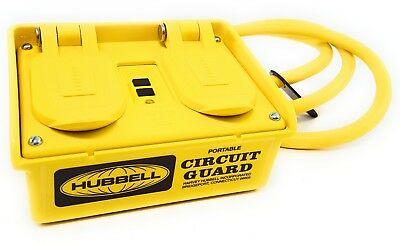 Hubbell GFP15M Portable GFCI w/ Cord 120VAC 4 Outlet Circuit Guard