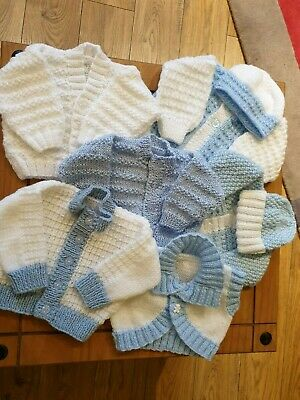 Hand knitted baby boys cardigans. 0 to 3 months.  No offers