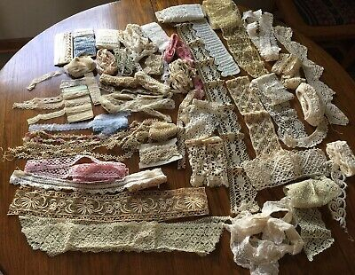 Antique Vintage Lace Trims Edging Crochet Tatting for Doll Clothes & More