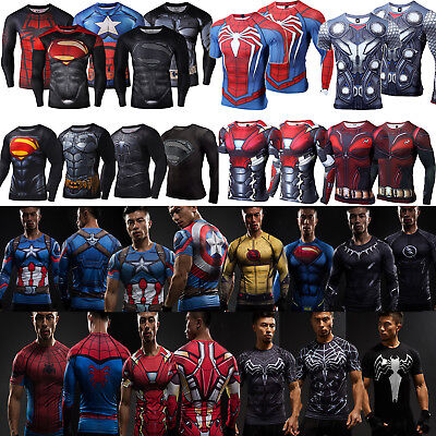 Marvel Superhero Compression T-Shirt Mens Base Layer Fitness Gym Muscle Tee Tops