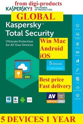 Kaspersky Total Security 2019 5 Devices PC  1 Year Global Worldwide Full Version