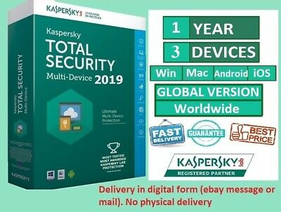 Kaspersky Total Security 2019 3 Device PC 1 Year Global Worldwide All Countries