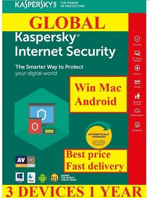 Kaspersky Internet Security 2019 3 Devices PC 1 Year Global Worldwide All Countr