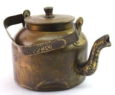 Vintage Old Indian Brass water pot Kitchenware Tea / coffee Kettle. G66-429 US