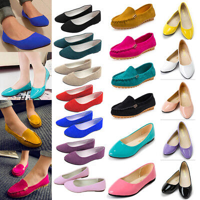 Ladies Womens Ballerina Ballet Dolly Pumps Slip On Flat Boat Loafers Shoes Size