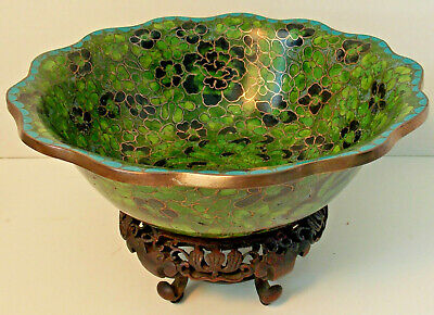 Vintage Old Cloisonne Chinese Enamel Bowl Emerald Green Floral with Carved Stand