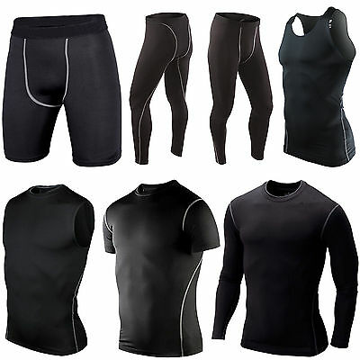 Men's Compression Under Base Layer Tight Tops Vest Sports T-Shirt Shorts Pants