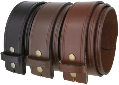"""Alabama Two Lines Smooth One Piece Full Grain Cowhide Leather Belt Strap 1 3/4"""""""