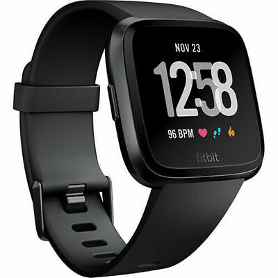Fitbit Versa Activity Tracker Fb504Gmbk Black / Black Aluminum Smart Watch