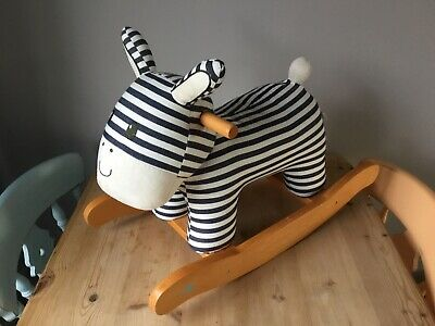 LABEBE Soft Plush Rocking Horse Striped Donkey Wooden Great Condition