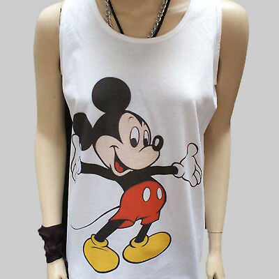 MICKEY MOUSE CARTOON POP ART KITSCH T-SHIRT unisex white VEST TANK TOP S-2XL