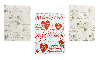 Personalised Anniversary Wrapping Paper Golden Ruby....Any! Silver