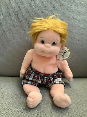49d38bf12e2 Ty Beanie Kids Chipper Boy Doll 1999 Soft Blonde Shorts New W Tags Nwt Mint