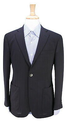 * CHESTER BARRIE * Savile Row Solid Black Patch Pocket MOP Button Blazer 38S