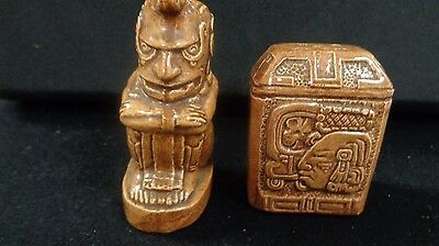 Vintage Egyptian Pharaoh Style Salt and Pepper Shakers Ceramic Glossy Stoneware