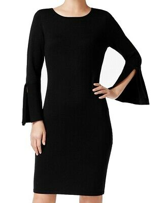 96f31b4c Calvin Klein NEW Black Womens Size Medium M Bell Sleeve Sheath Dress $134-  308