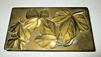 Vintage Brass Leaves Box Jewelry Casket Applied Leaf Antique Letter Box Chest
