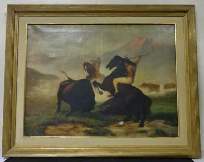 Antique Oil on Canvas Painting American Indians on Buffalo Hunt Sg. & Dated 1908