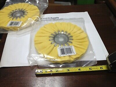 """MSC 77750404, Made in USA, 6"""" Diam x 1/2"""" Thick, 14 Ply Buffing Wheel, 5/8 Arbor"""