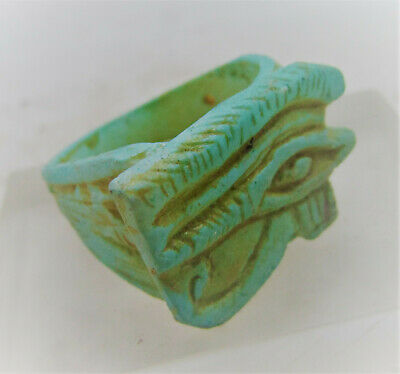 Superb Ancient Egyptian Glazed Faience Ring With Eye Of Horus