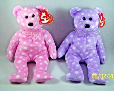 TY Beanie Babies Retired Bears PINK PURPLE Toast And Fizz MWMT Plush Animal Toy