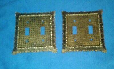 (3) Vintage Ornate Brass Double Light Switch Cover Covers