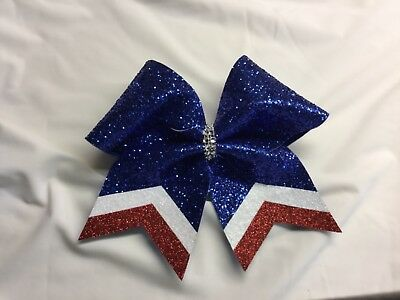 Royal Blue Glitter Cheer Bow with White and Red Tails